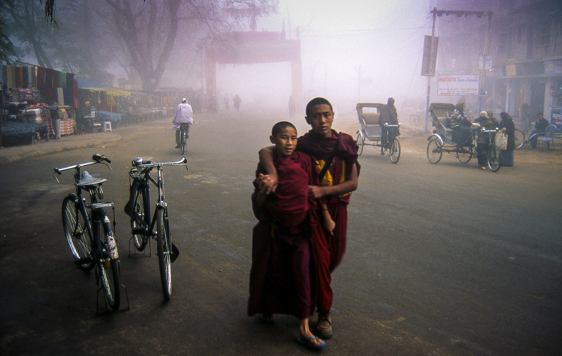 Buddhist monks at dawn.