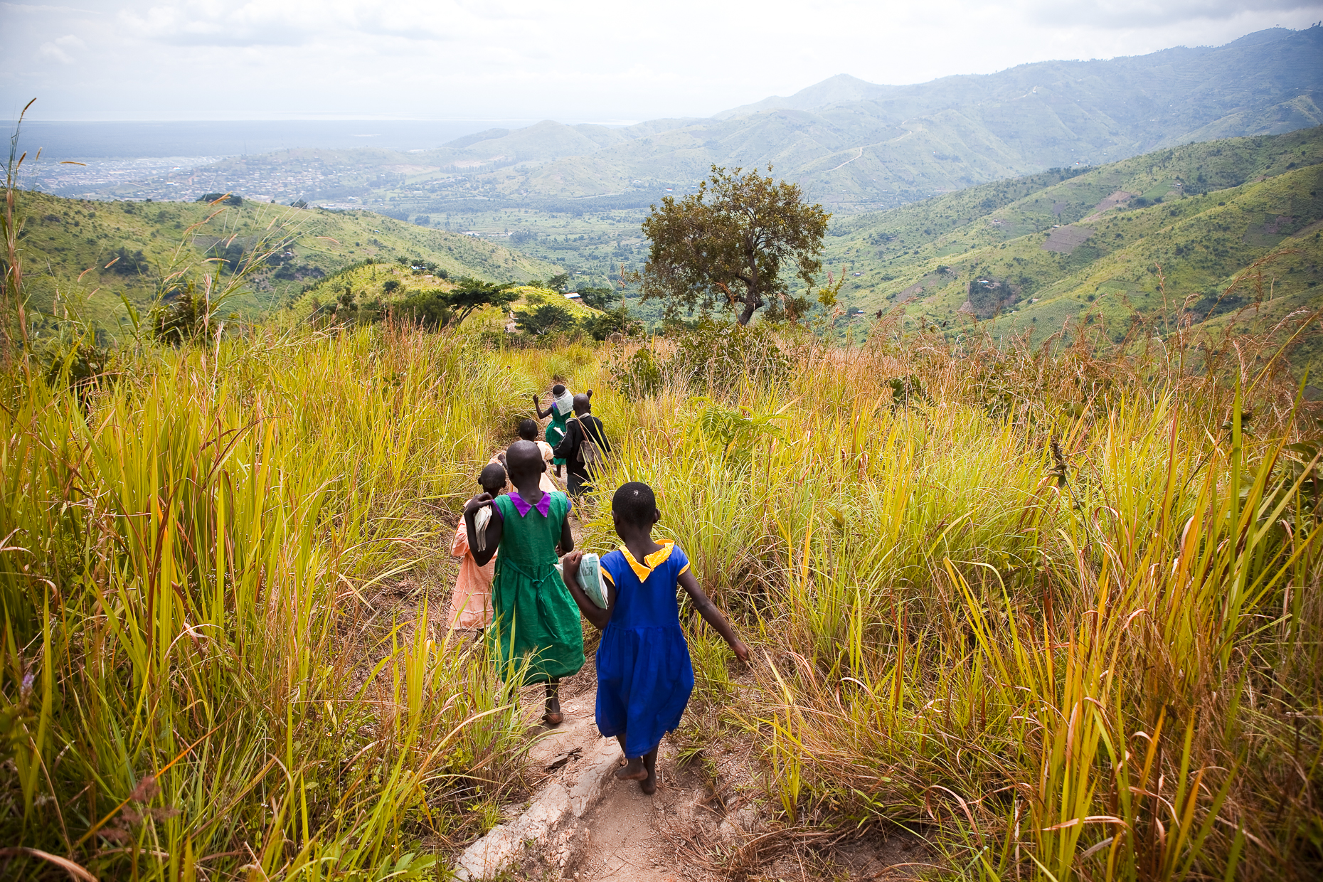 Children going home from school, Uganda